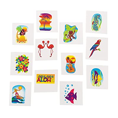 Tropical Glitter Temporary Tattoos Summer Luau Party Favors (6 dz): Toys & Games