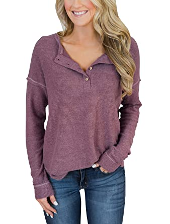 be0aa58b06a PRETTODAY Women s Long Sleeve Henley Tops Button Down Pullover Blouses  (Small