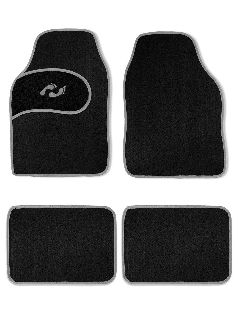 Vetrineinrete® Tappetini per auto universali moquette con base antiscivolo 4 pezzi anteriori e posteriori tappeti per automobile 80050 (Bordo grigio) G63 Vetrineinrete®