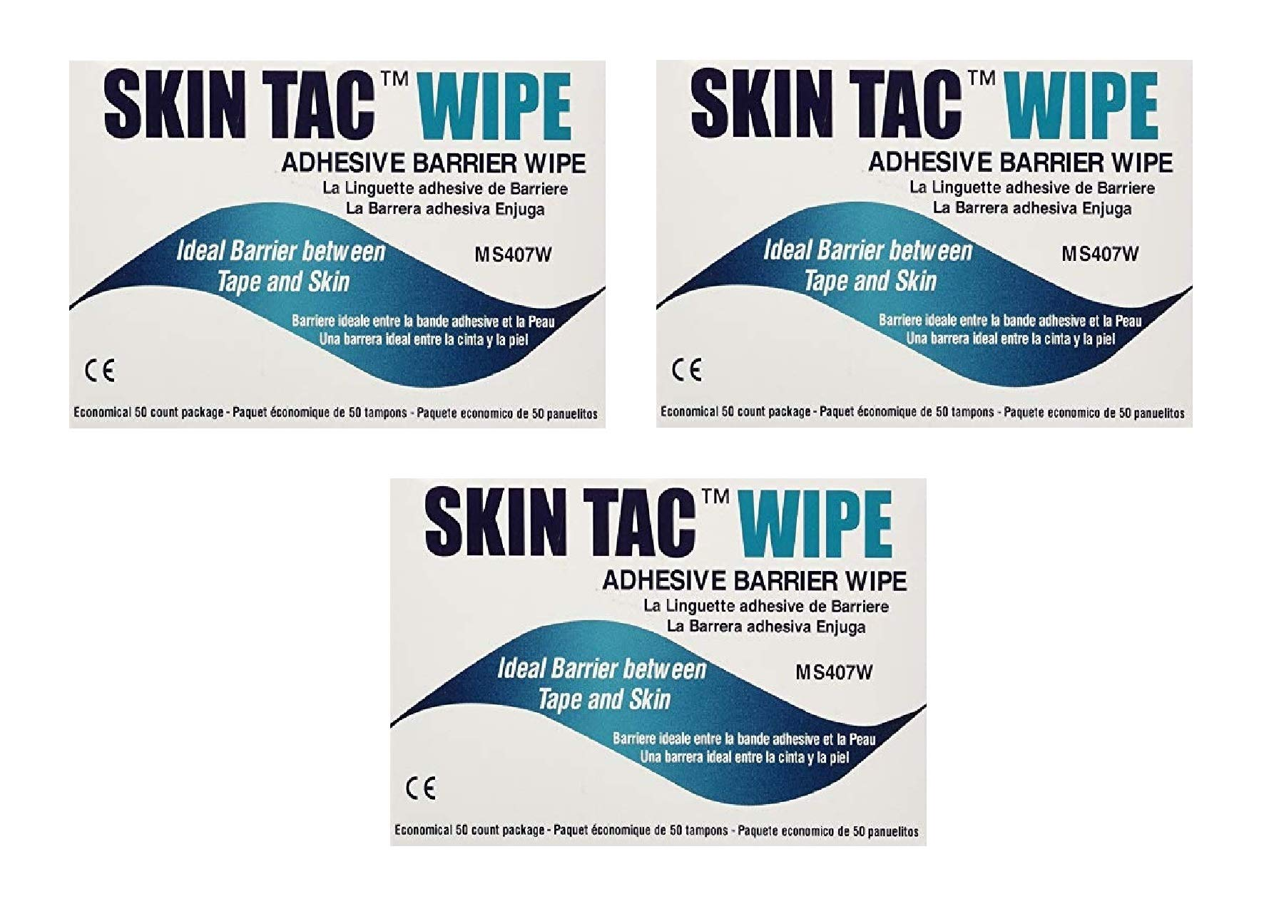 Skin-TacTM Adhesive Barrier Wipes (150 Count) (3 Pack)