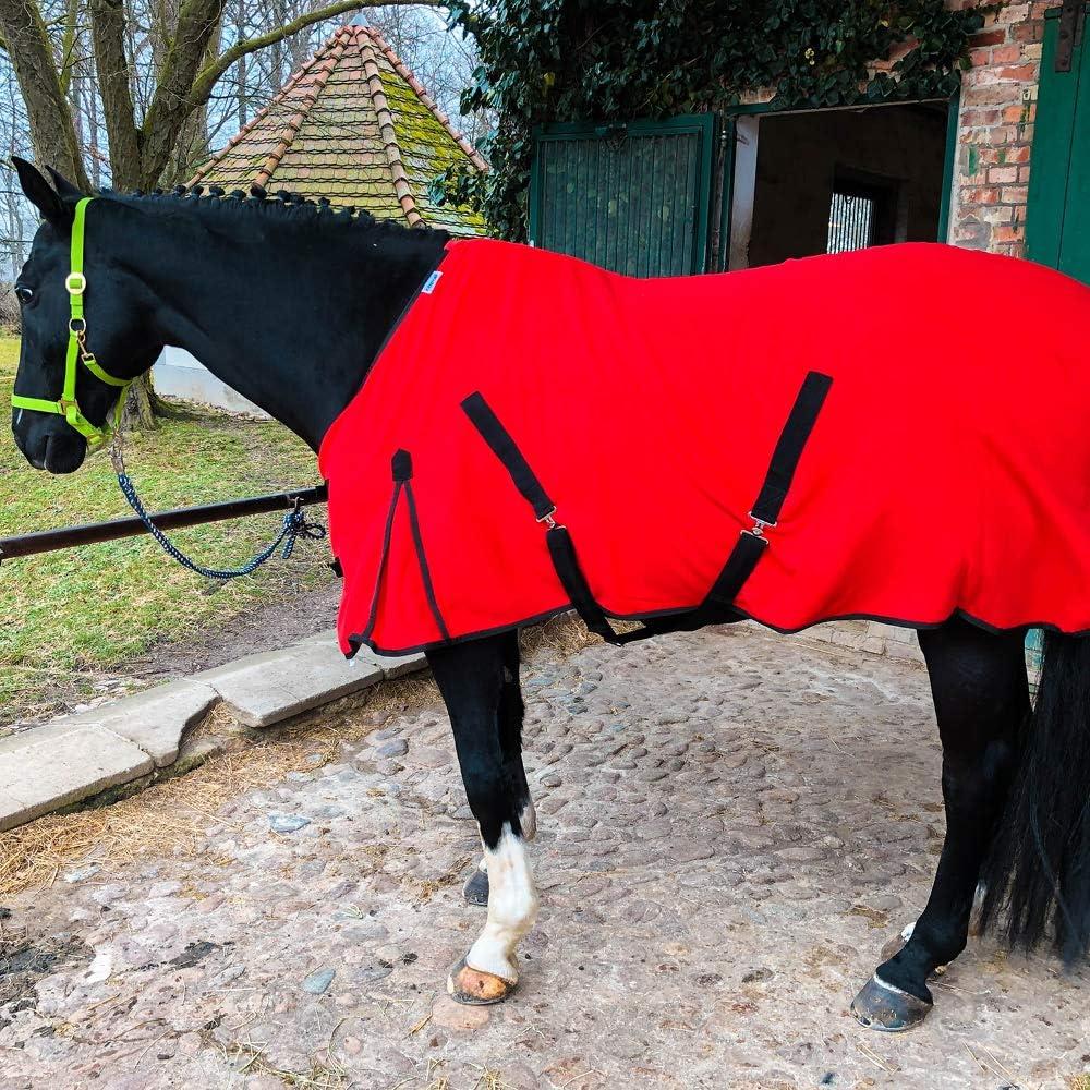 Manta para caballo con correa cruzada para caballos y ponis, transpirable, de forro polar, para secado rápido y calentamiento, color rojo, 145 cm
