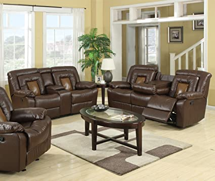 GTU Furniture Cobra Pu-Leather Reclining Sofa Loveseat Recliner Set,  Luxurious Living Room Furniture (Sofa, Loveseat & Recliner, Brown)