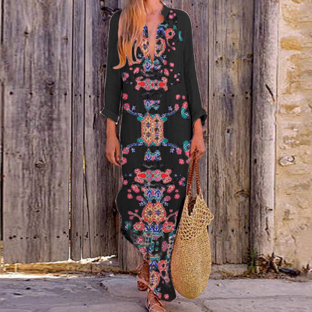 Dresses for Women Printed Long Sleeve Maxi Dress V-Neck Split Hem Baggy Kaftan Long Casual Fashion Dresses Maoyou Black,L