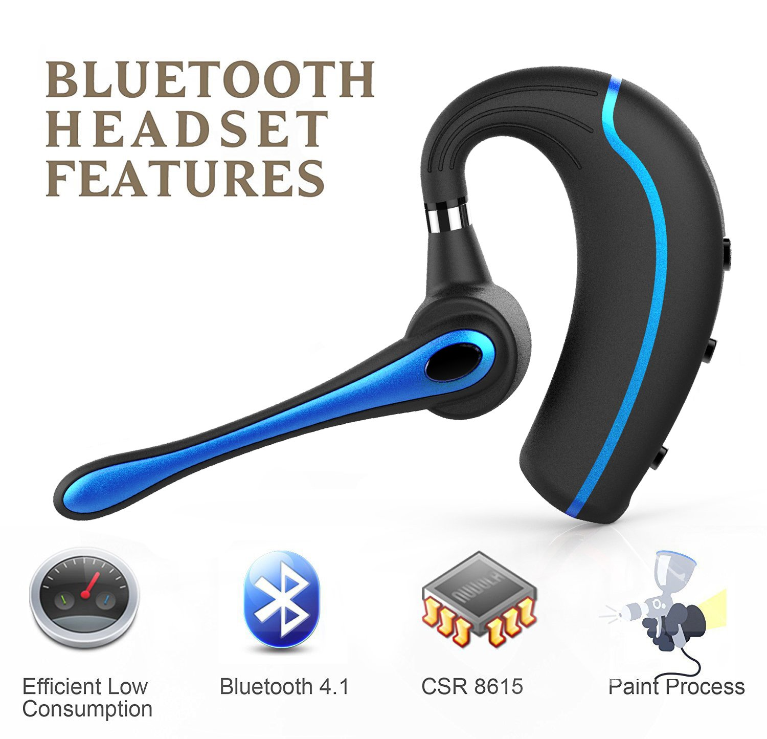 Walless Bluetooth Headset,Wireless Earpiece V4.1Hands Free Microphone for Business, Office,Driving,Work for iPhone/Samsung/Android Cell Phones (Black-B) by walless (Image #4)