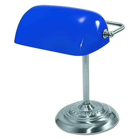 """Ledu L557BL Traditional Incandescent Banker's Lamp, Blue Glass Shade,  13""""h, ..."""