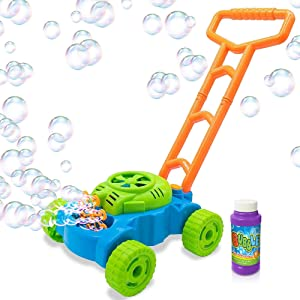 ArtCreativity Bubble Lawn Mower - Electronic Bubble Blower Machine - Fun Bubbles Blowing Push Toys for Kids - Bubble Solution Included - Best Birthday Gift for Boys, Girls, Toddlers