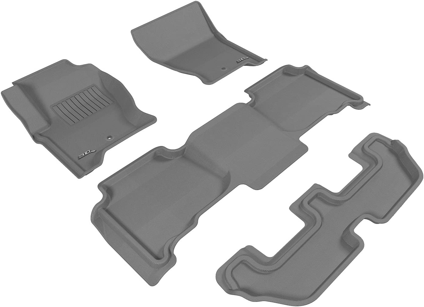 Black 3D MAXpider Complete Set Custom Fit All-Weather Floor Mat for Select Ford Taurus Models Kagu Rubber