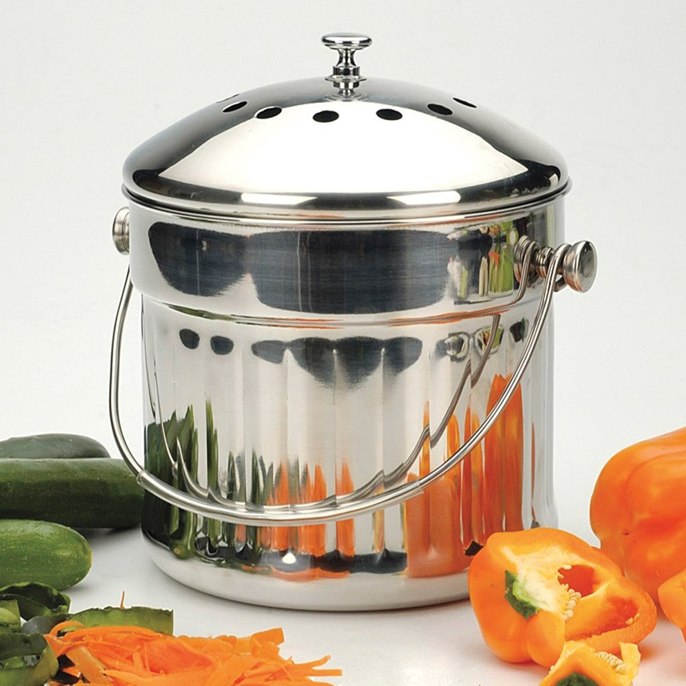 Amazon.com: RSVP Endurance Stainless Steel Jumbo Compost Pail 1.5 Gallon:  Home U0026 Kitchen