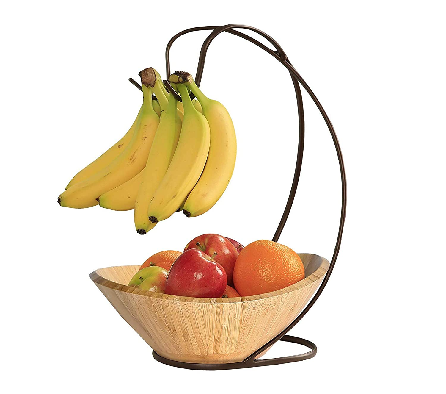 Home Décor Premium Fruit Tree with Banana Hook and Large Wavy Bamboo Bowl Storage