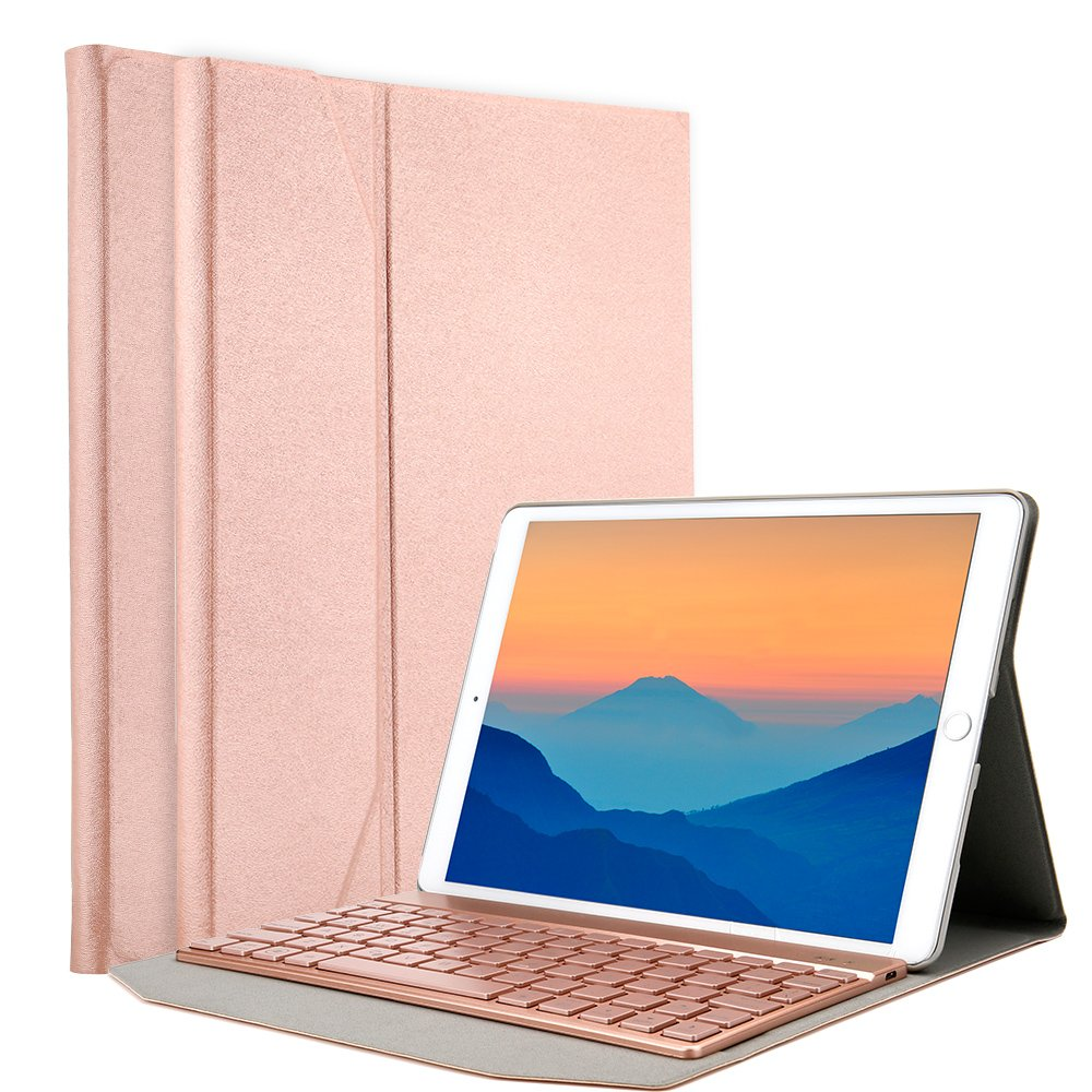 iPad Pro 10.5 Case with Keyboard, iEGrow F15S Lightweight Stand Portfolio Cover with 7 Colors Backlit Detachable Bluetooth Keyboard for Apple iPad Pro 10.5-inch 2017 Released(Rose Gold) by iEGrow