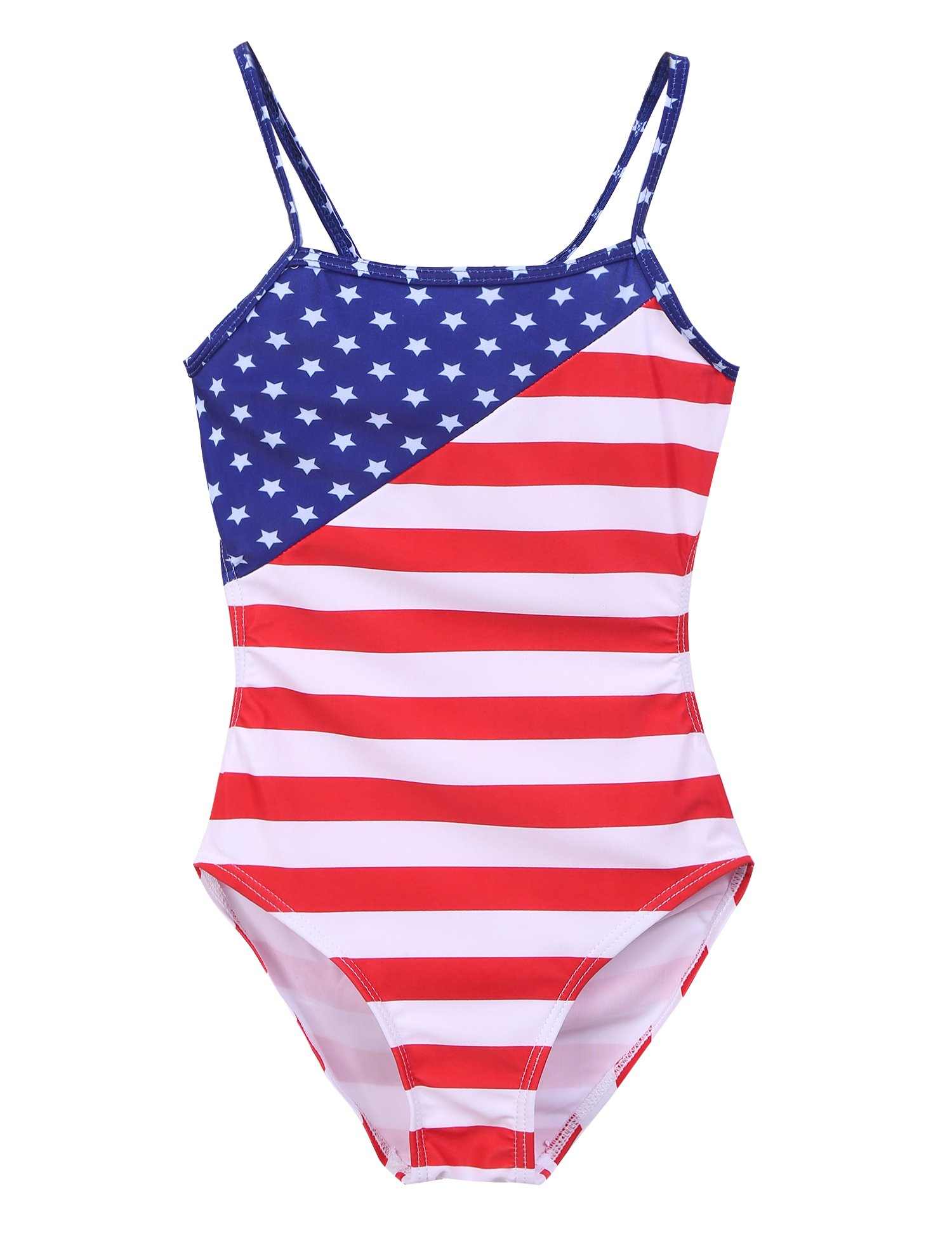 Arshiner Kids Girl's One Piece Swimsuit with Stars and Stripes,Blue, 110