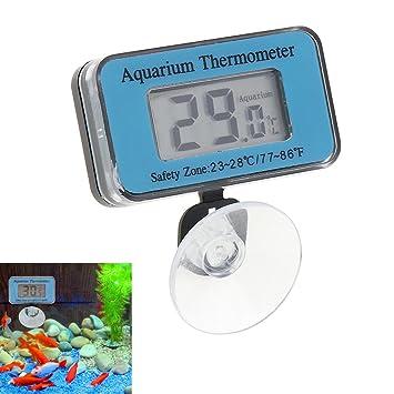 GuDoQi Termómetro De Acuario Sumergible Termómetro De Pecera Estanco Azul Termómetro Digital De LCD Con Ventosa: Amazon.es: Productos para mascotas