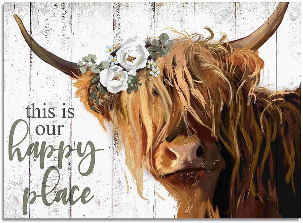 Farmhouse Cow Decor, Rustic Canvas Print, Retro Vintage Wall Art for Home Decoration (Brown, 12x16inch)