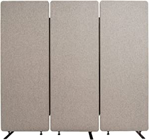 LUXOR Reclaim Office, Classroom Wall Partition Freestanding Acoustic Room Divider - 3 Pack, Misty Gray