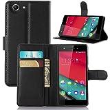 Wiko Pulp 4G Coque,Vikoo(7 Couleurs)Flip Cuir D'unité Centrale Etui Portefeuille Avec Fentes pour Cartes Intégré Housse pour Wiko Pulp 4G PU Leather Smart Case - Noir