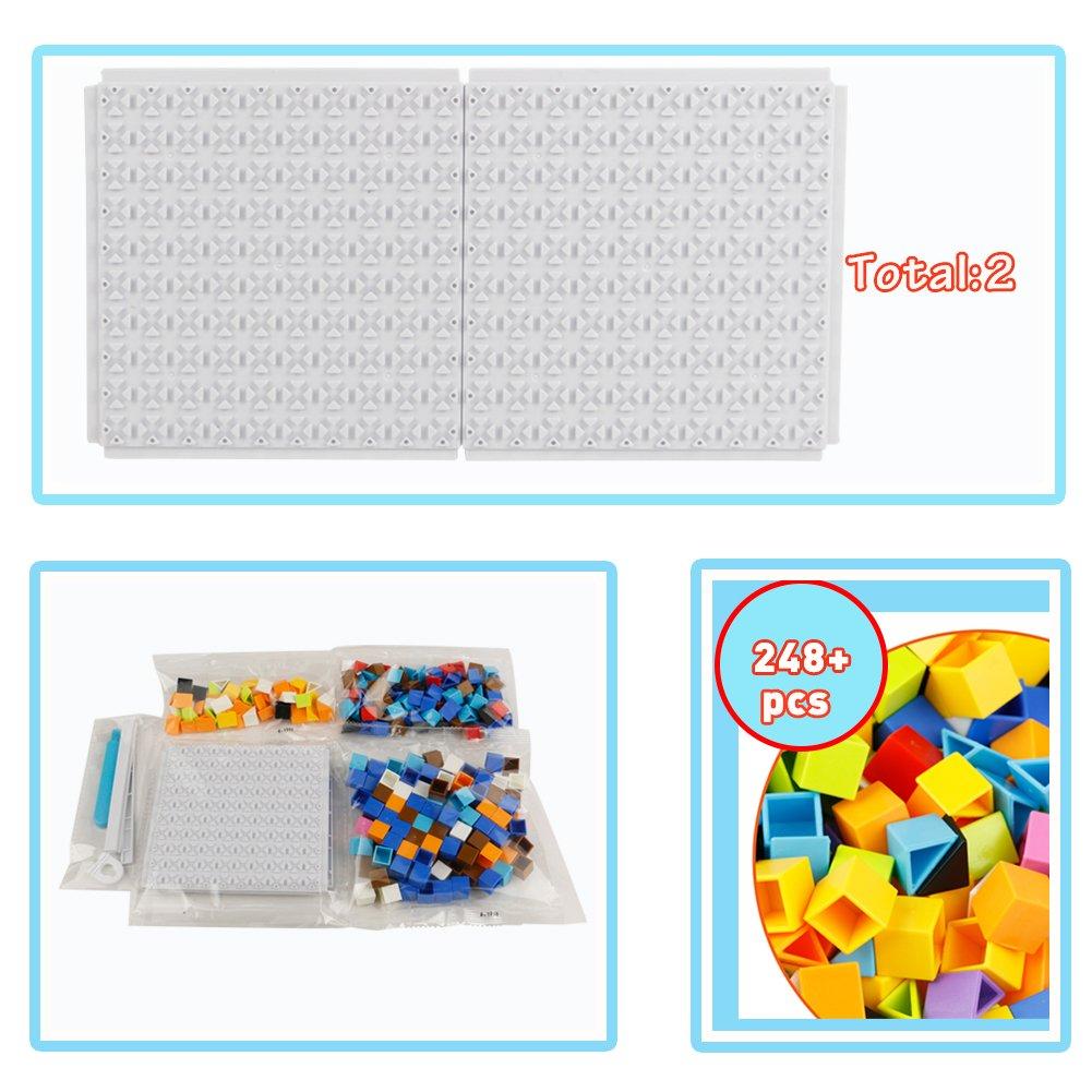 Nuheby Mosaico Bambini Gioco Creativo Mosaico Bambina Puzzle Bambini 4,5,6,7 Anni(Piccolo 248 PCS)