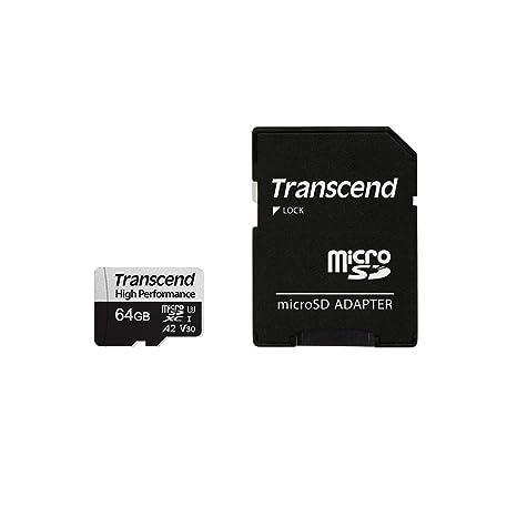 Transcend USD330S - Tarjeta microSD de 64GB, SDXC, Clase 10, U3, V30, A2 (Lectura hasta 100 MB/s, Escritura hasta 85 MB/s)