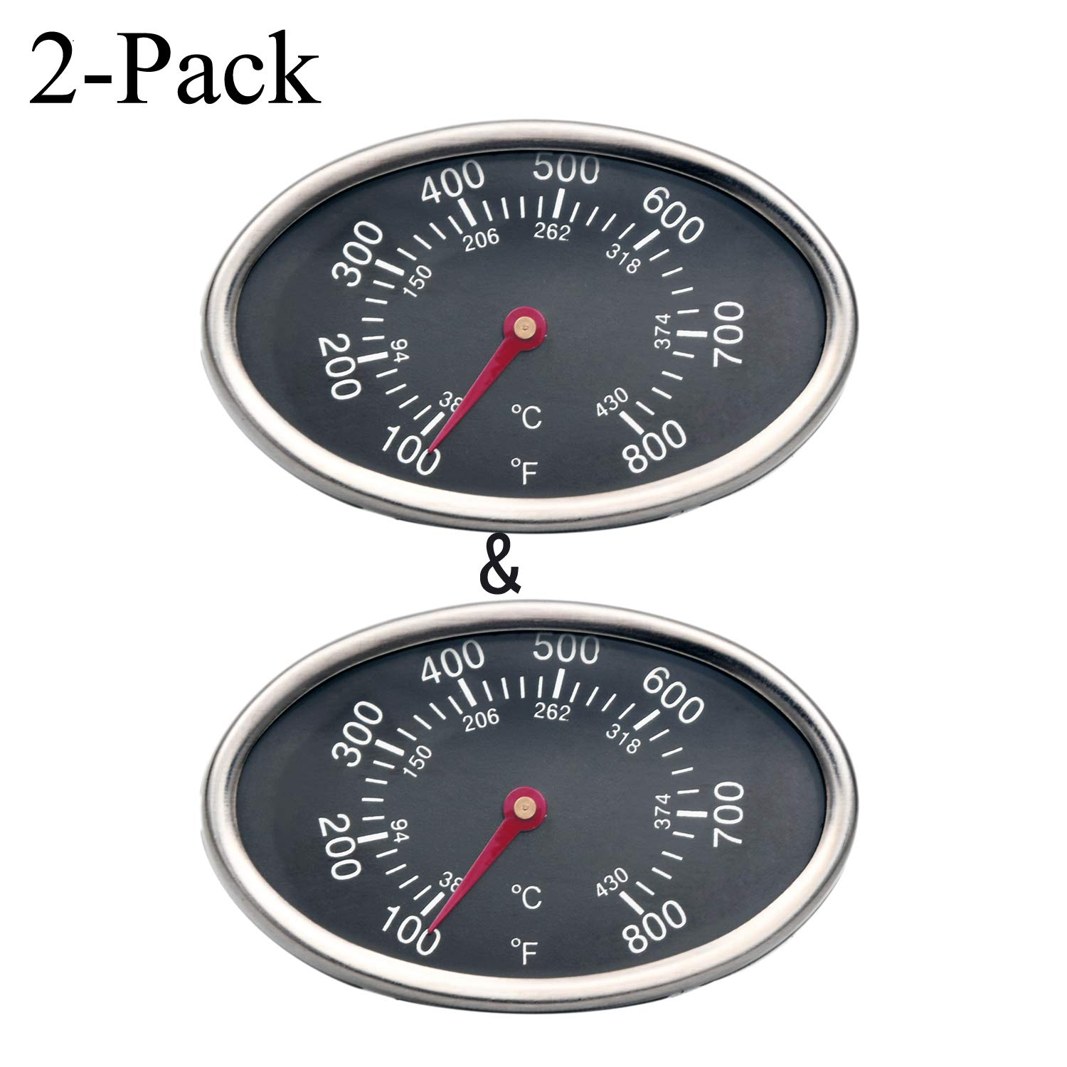 GasSaf 3 inch GP551 Heat Indicator Stainless Steel Lid Thermometer Temperature Gauge Replacement for Grill Master 720-0697 4 Burner Set of 2-Pack Aussie Brinkman and Others