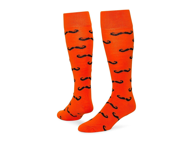 レッドライオン口ひげover the calf Fun Socks B00HH83IFM Small|Neon Orange / Black Neon Orange / Black Small