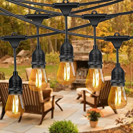 Amabana Outdoor Led String Lights 49ft Waterproof Connectable Patio String Lights 15 Hanging Sockets 16 Vintage Edison Bulbs Etl Ul588 Approved