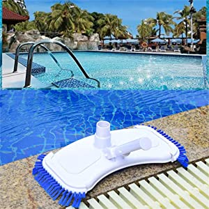 Swimming Pool Vacuum Head Pool Clean Tools Brush Cleaner Above Ground Cleans Floors with Nylon Side Bristles (White 2)