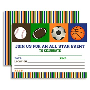 Amazon Com All Star Sports Birthday Party Invitations 20 5 X7