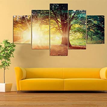 amazon gorgii canvas wall art forests and rising sun canvas