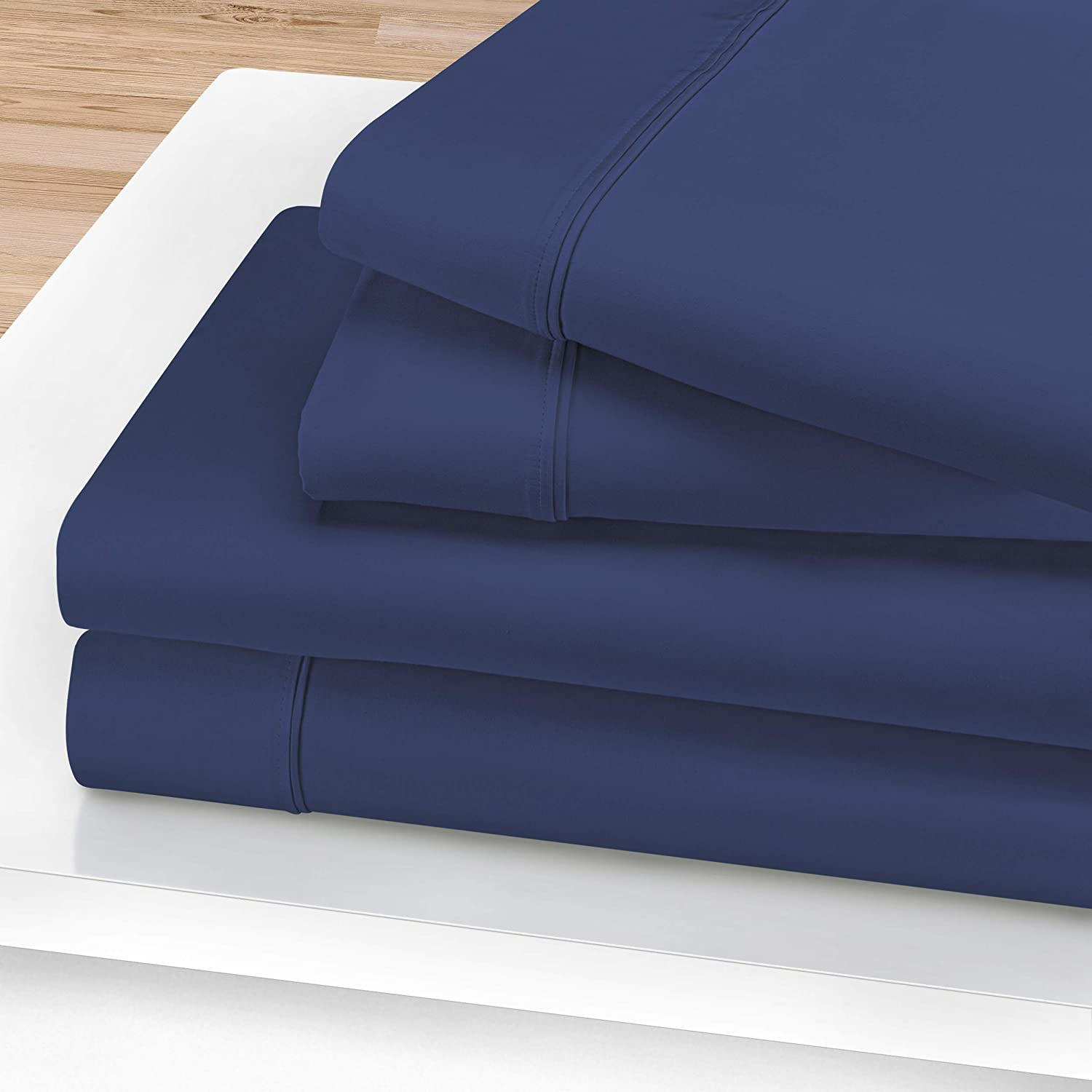 Celeste 100% Egyptian Cotton Sheet Set, 1200-Thread Count, Long-Staple Cotton, Soft, Silky Feel, Heavyweight, Fully Elasticized Fitted Sheet, Deep Pockets, Solid, Cal King, Navy Blue, 4-Pieces
