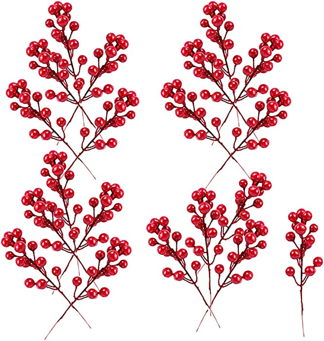 Guuozzli 20 PCS Artificial Red Berry,Red Berry Picks Branch,7.8 Inch Berry Stems for Festival,Holiday,Christmas,Home Decor