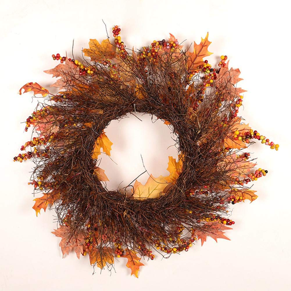 18 inch Fall Front Door Wreath,Christmas Thanksgiving Autumn Fall Wreath Artificial Maple Leaf Garland Ornaments Decoration