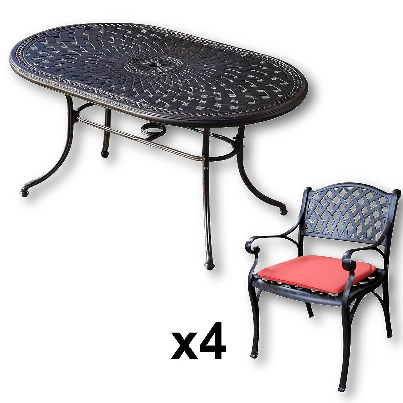 Lazy Susan June 150 X 95 Cm Ovaler Gartentisch Mit 4 Stuhlen
