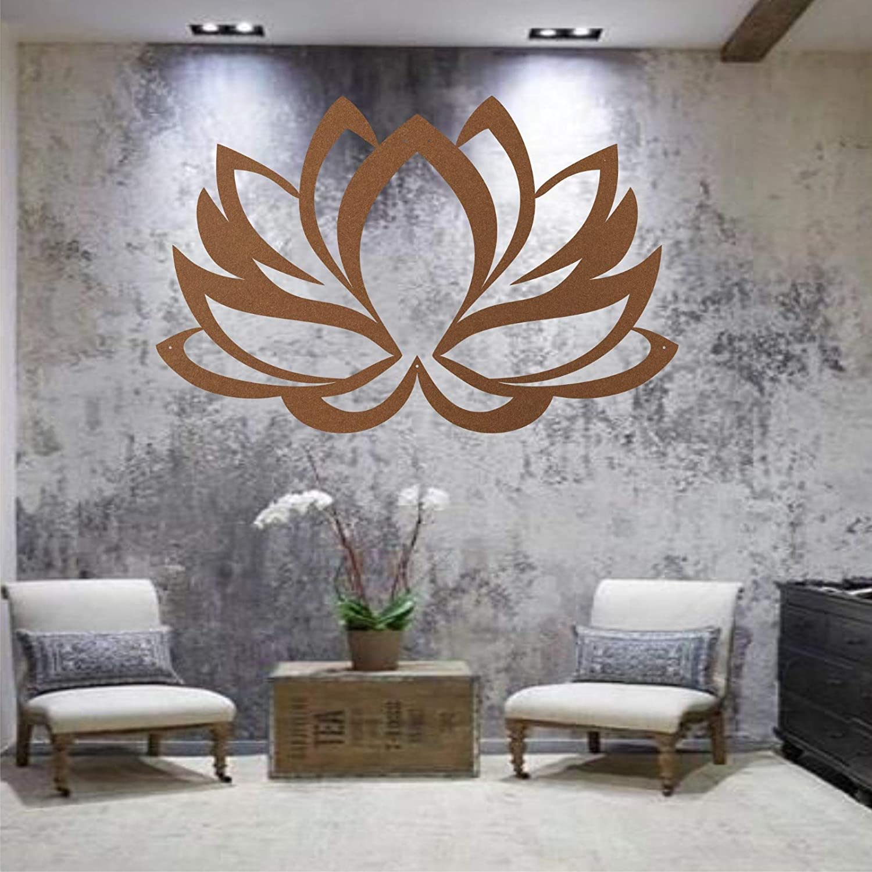 "Metal Wall Art, Metal Lotus Flower Art Bronze, Wall Silhouette, Metal Wall Decor, Home Office Decoration Bedroom Living Room Decor, Wall Hangings (30""W x 20""H / 76x51 cm)"