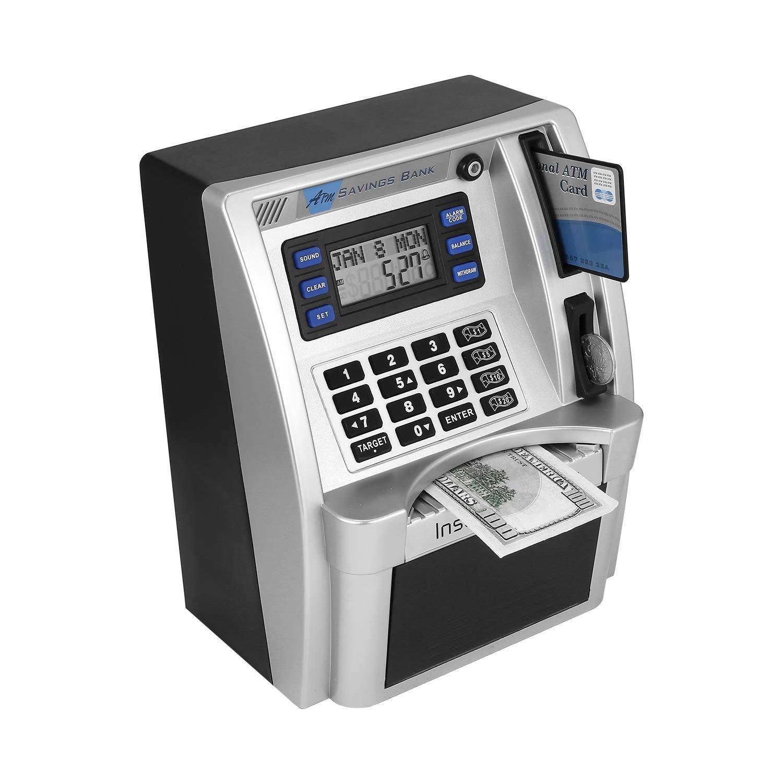 FairytaleMM ATM Sparkasse Spielzeug für Kinder ROTen ATM Sparkasse einfügen einfügen einfügen Rechnungen Perfekt für Kinder Geschenk-Dollar Währungs Detector(Silber schwarz) ecaa00