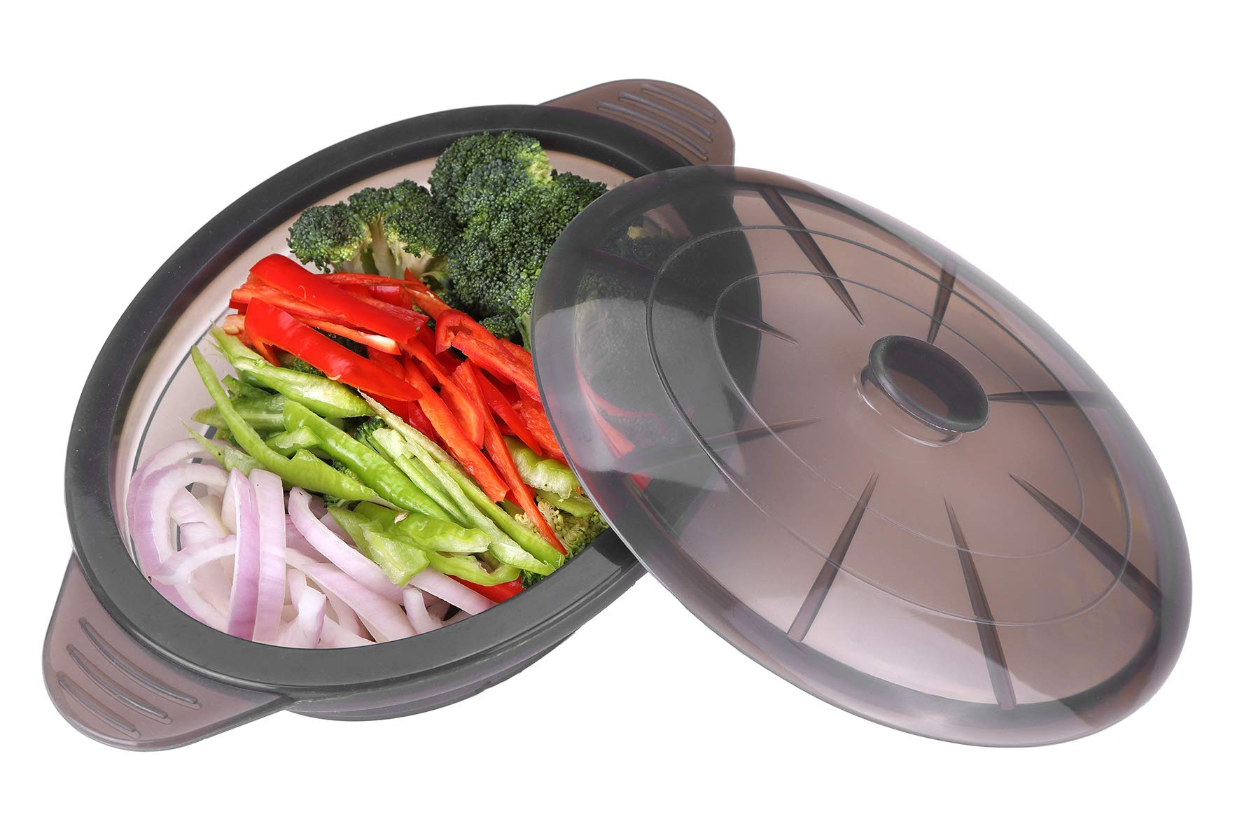Microwave Steamer Collapsible Bowl-Silicone Steamer with Handle & Lid for Meal Prep with Detachable Partition, Easy to Store, BPA Free,Microwave Cookware, Freezer & Dishwasher Safe, Black