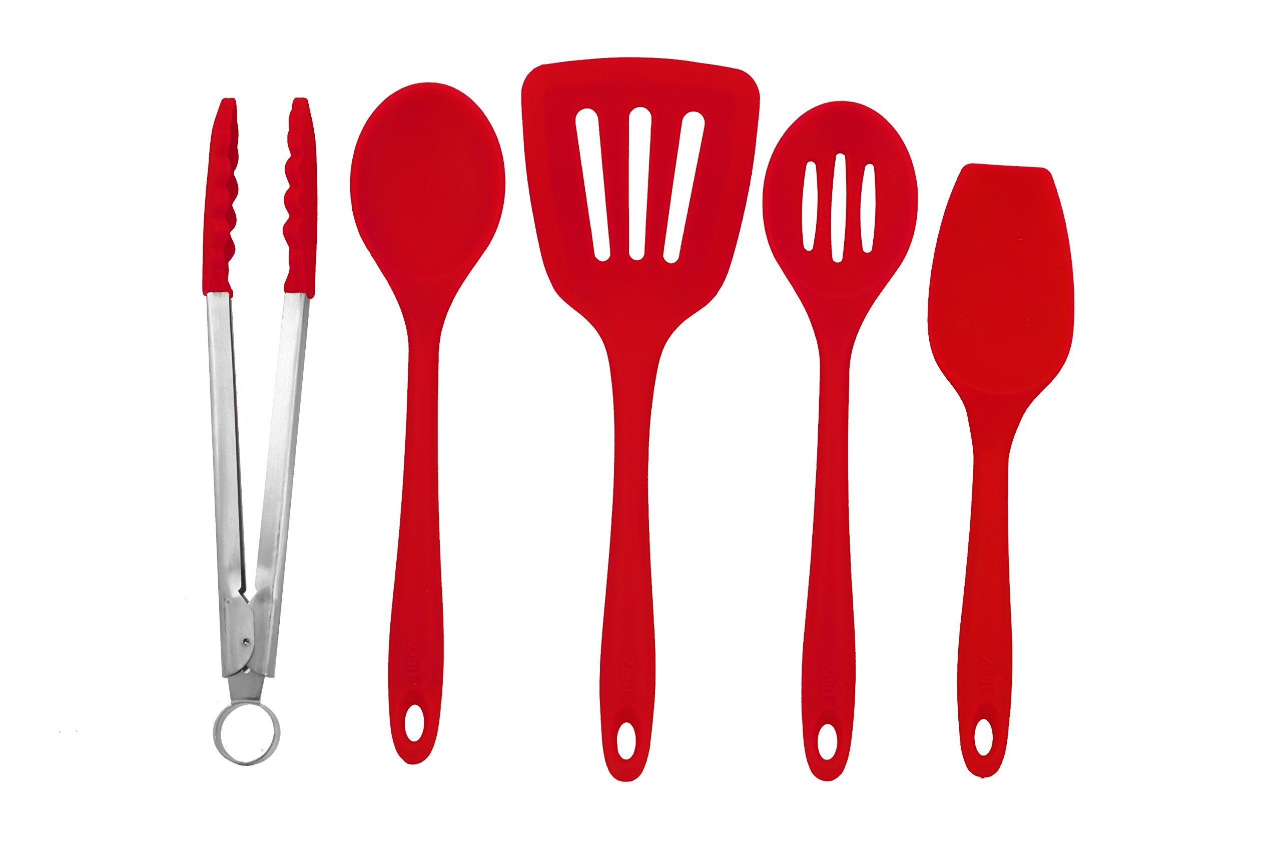 Zeal 5-piece Kitchen Utensil Set - Cooks Spoon, Turner, Scraper Spoon, Draining Spoon and Tong - European grade Pure Silicone, Heat Resistant to 482F (Red)