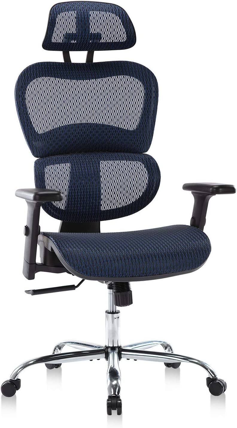 Home Office Chair Mesh Ergonomic Computer Chair with 3D Adjustable Armrests Desk Chair High Back Technical Task Chair - Blue