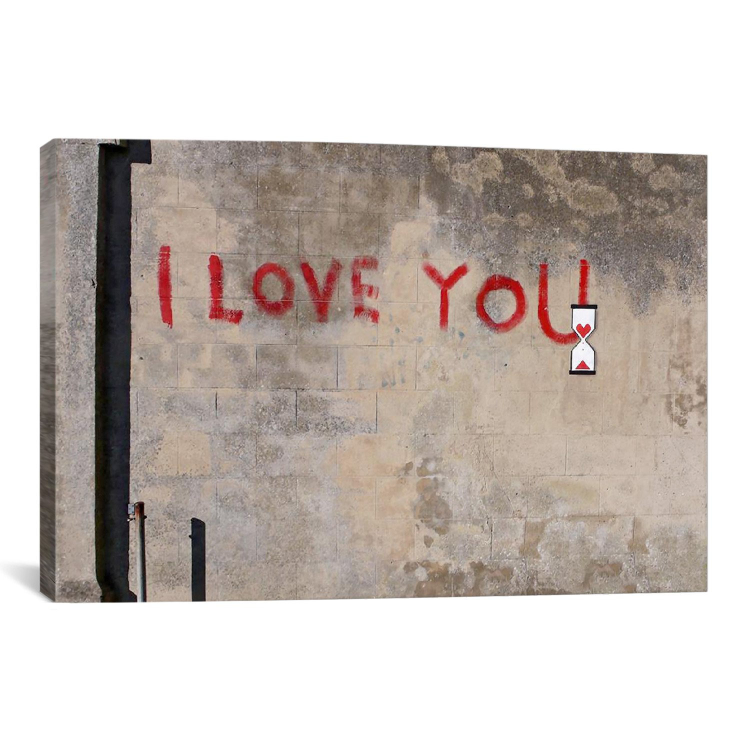 iCanvasART BNK3 I Love You by Banksy Canvas Print, 60-Inch by 40-Inch, 1.5-Inch Deep