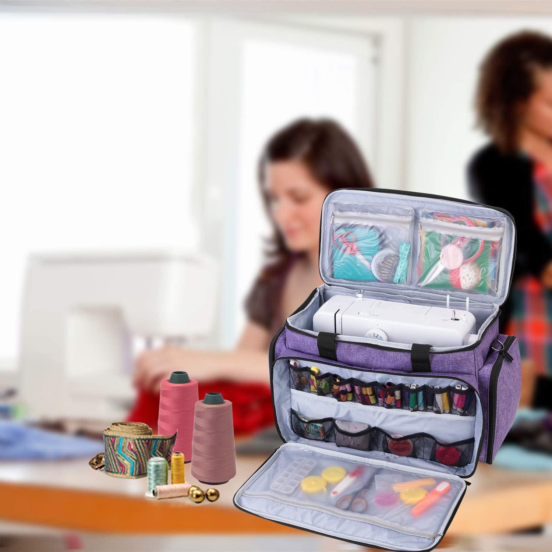 Luxja N/ähmaschinen-Tragetasche passend f/ür die meisten Standard-N/ähmaschinen und Zubeh/ör grau Reisetasche mit mehreren F/ächern