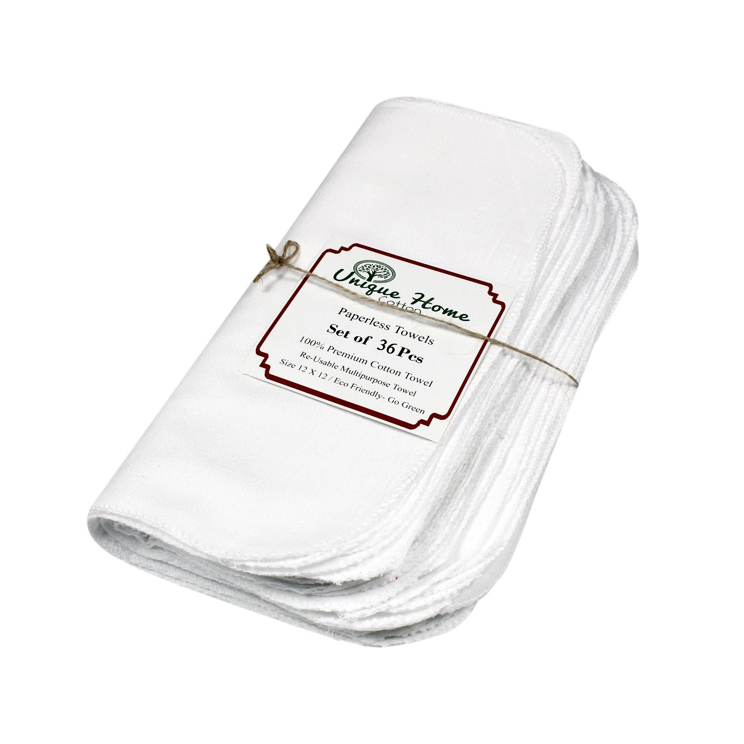 100% Premium Cotton Re-Usable Paperless Towels - White Pack of 36 pcs (12 x 12) inches. Easy wash and quick dry. Alternate to paper towels. multi-purpose towel.