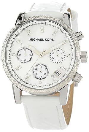 MK white leather watch