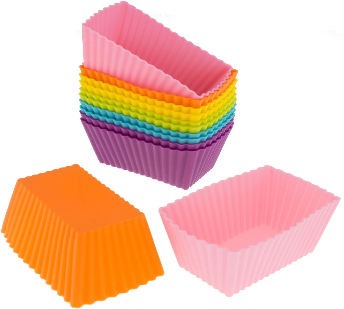 Freshware Cb 308sc 12 Pack Silicone Mini Rectangle Reusable Cupcake And Muffin Baking Cup Six Vibrant Colors Amazon Ca Home Kitchen