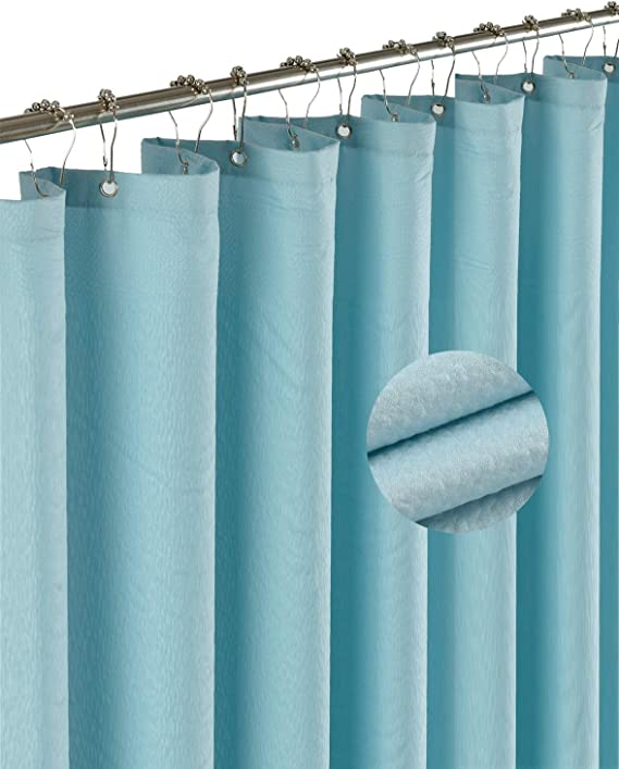 Barossa Design Soft Fabric Shower Liner Or Curtain With Embossed Dots Hotel Quality Machine Washable Water Repellent Blue 70 X 72 Inches Home Kitchen