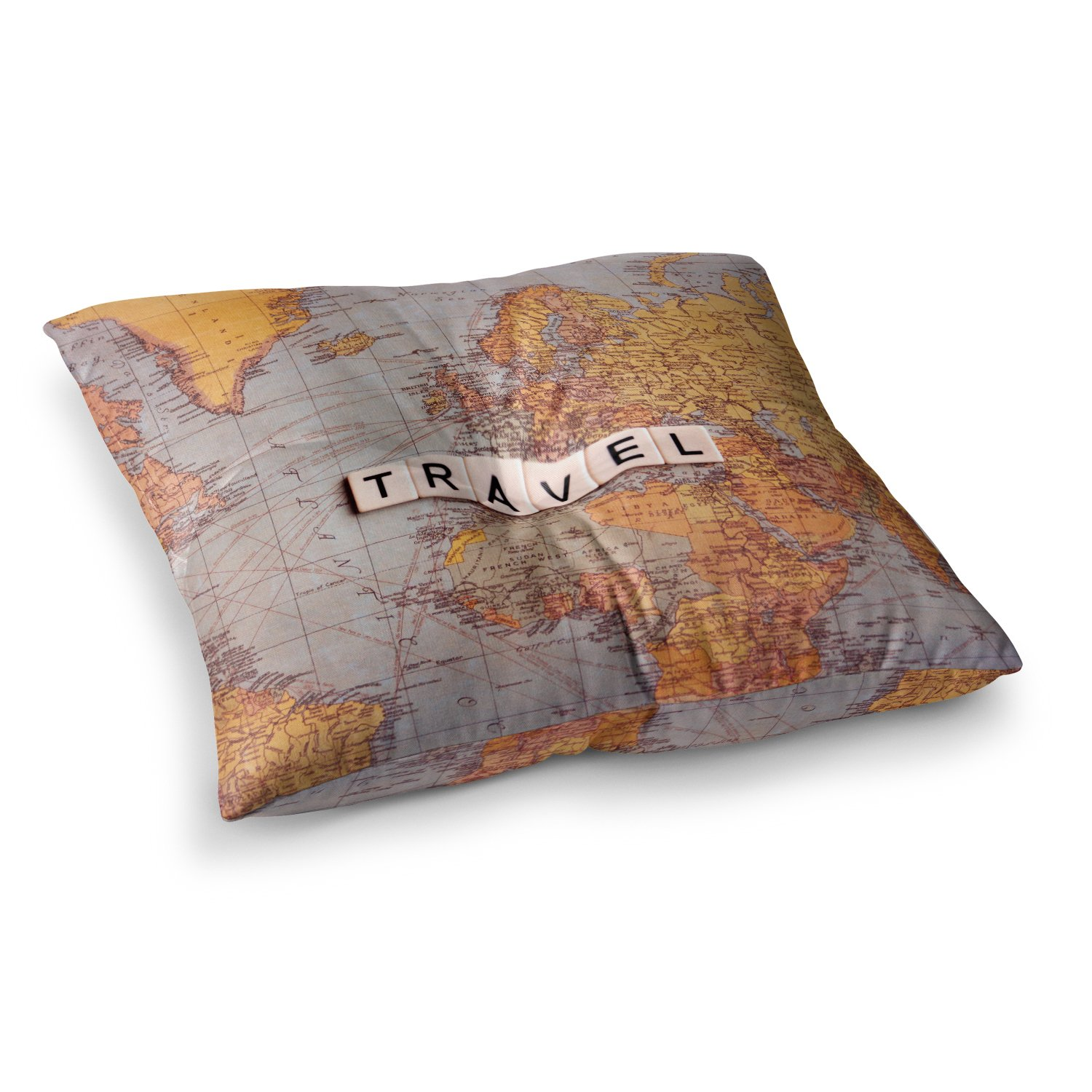 23 x 23 Square Floor Pillow Kess InHouse Sylvia Cook Travel Map World