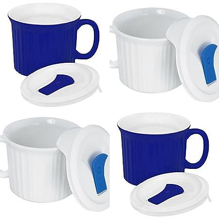 CorningWare - 4 tazas con tapas de plástico con ventilación ...