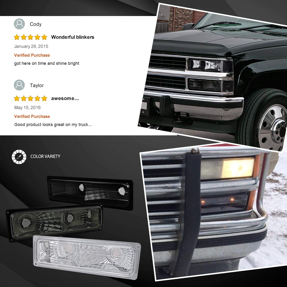 Autozensation For Chevy GMC C10 Truck Black Bumper Lights Parking Signal