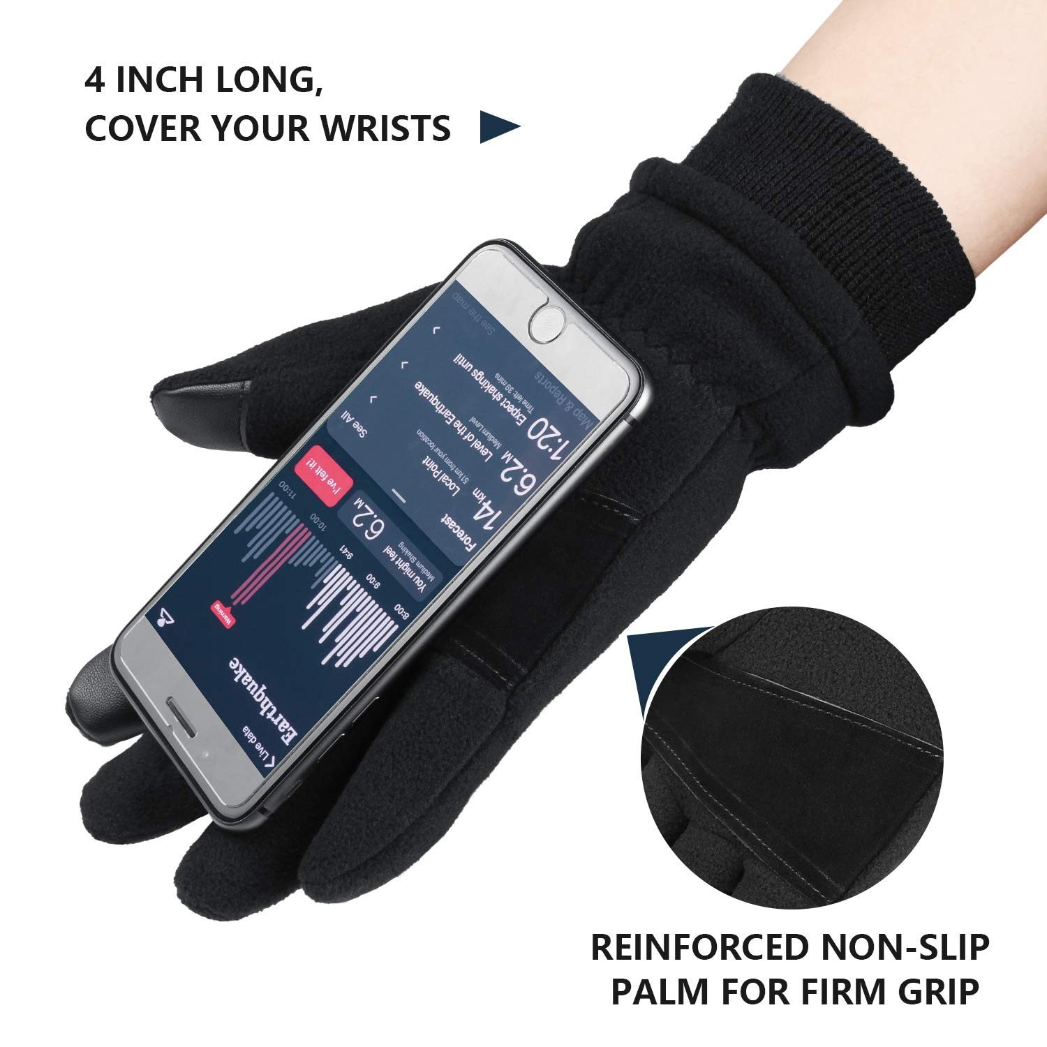 Cierto Mens And Womens Winter Thermal Fleece Gloves With Touchscreen /& Water Resistant Function For 20℉ Cold Weather With Warm Protection Small