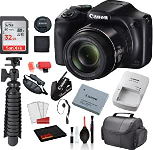 """Canon PowerShot SX540 HS Digital Camera (1067C001) with Accessory Bundle Package SanDisk 32gb SD Card + Deluxe Cleaning Kit + 12"""" Tripod + More"""