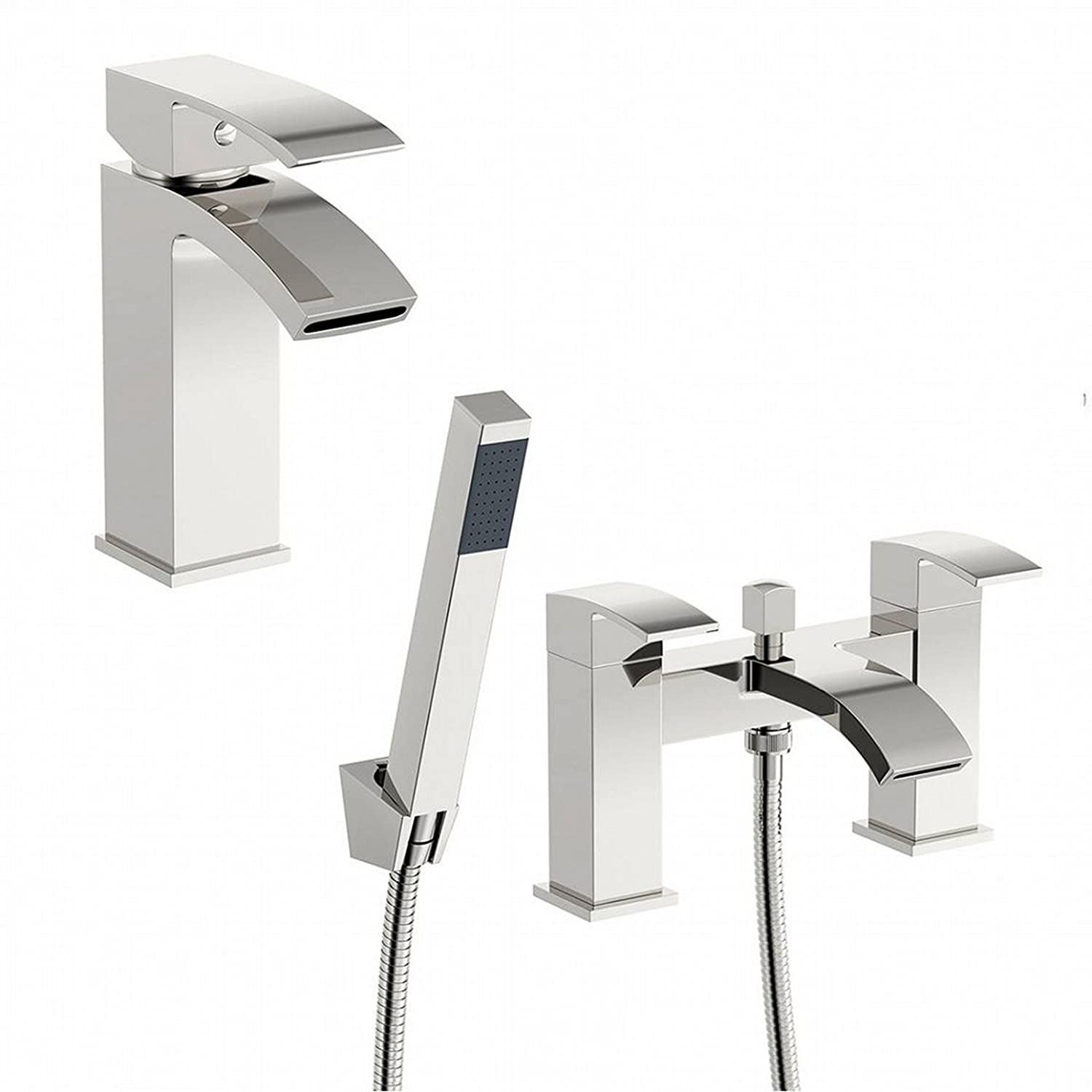 ENKI Square Bath Filler Tap with Shower Head + Basin Mixer Tap Pack CASCADE IMDSW080CH/2-IMDSW080CH/3