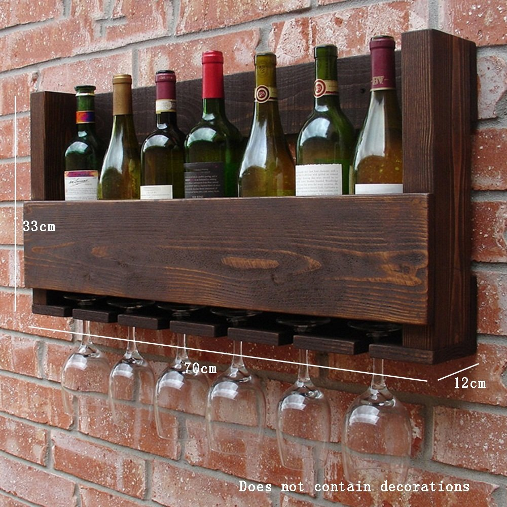 ALUP- アメリカンビレッジスタイルの木製ワインラック/ワインカップ棚/ワインキャビネットホルダー/壁棚/プラントスタンド、居間の壁掛けの装飾ラックの壁フレーム ( サイズ さいず : 70*12*33cm ) B07BTDGLY8 21000   70*12*33cm