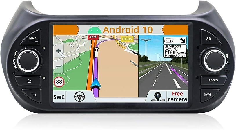 YUNTX Android 9 Autoradio Compatibile con Fiat Fiorino/Qubo/Citroen Nemo/Peugeot Bipper Radio - Telecamera Posteriore Gratuita - 7
